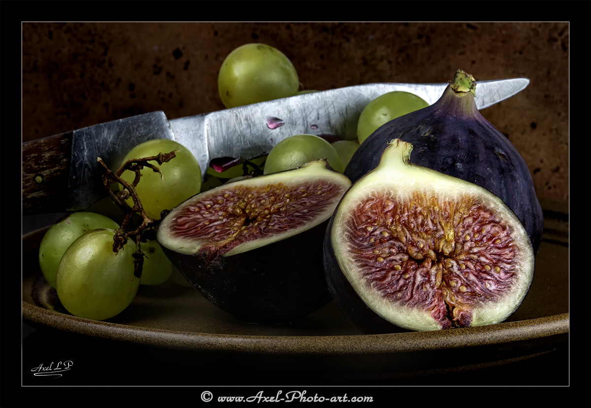 Nature morte : Figues et raisins